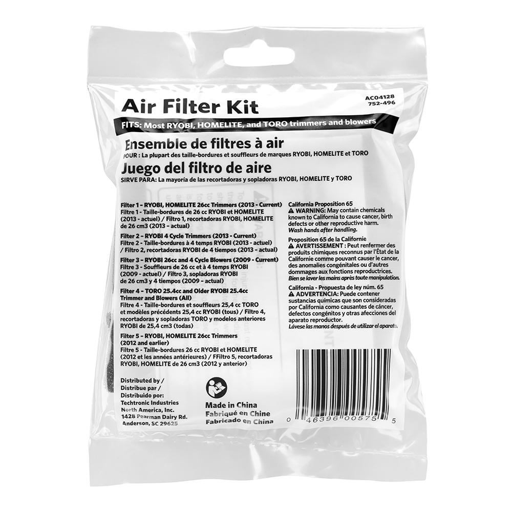 HOMELITE Universal Air Filter Kit for Trimmers and Blowers