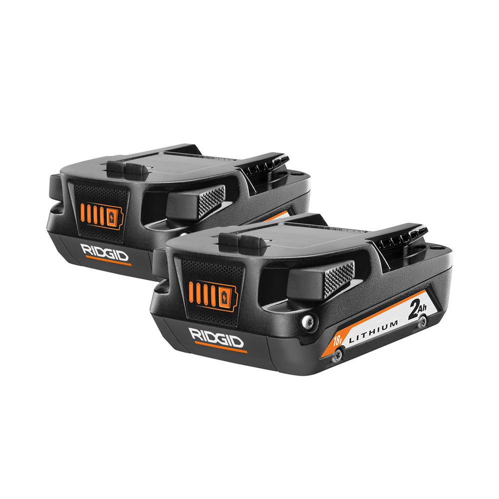 RIDGID 18 Volt Compact Lithium-Ion Battery 2-Pack