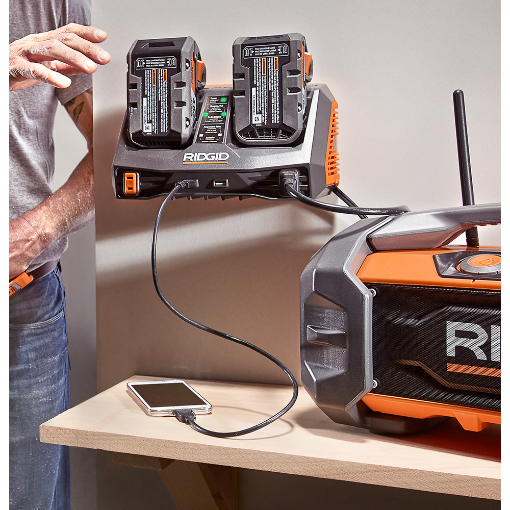 RIDGID GEN5X 18 Volt Dual Port Sequential Charger with Dual USB Ports