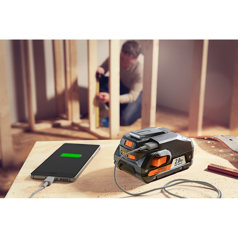 RIDGID 18 Volt USB Portable Power Source with Activate Button