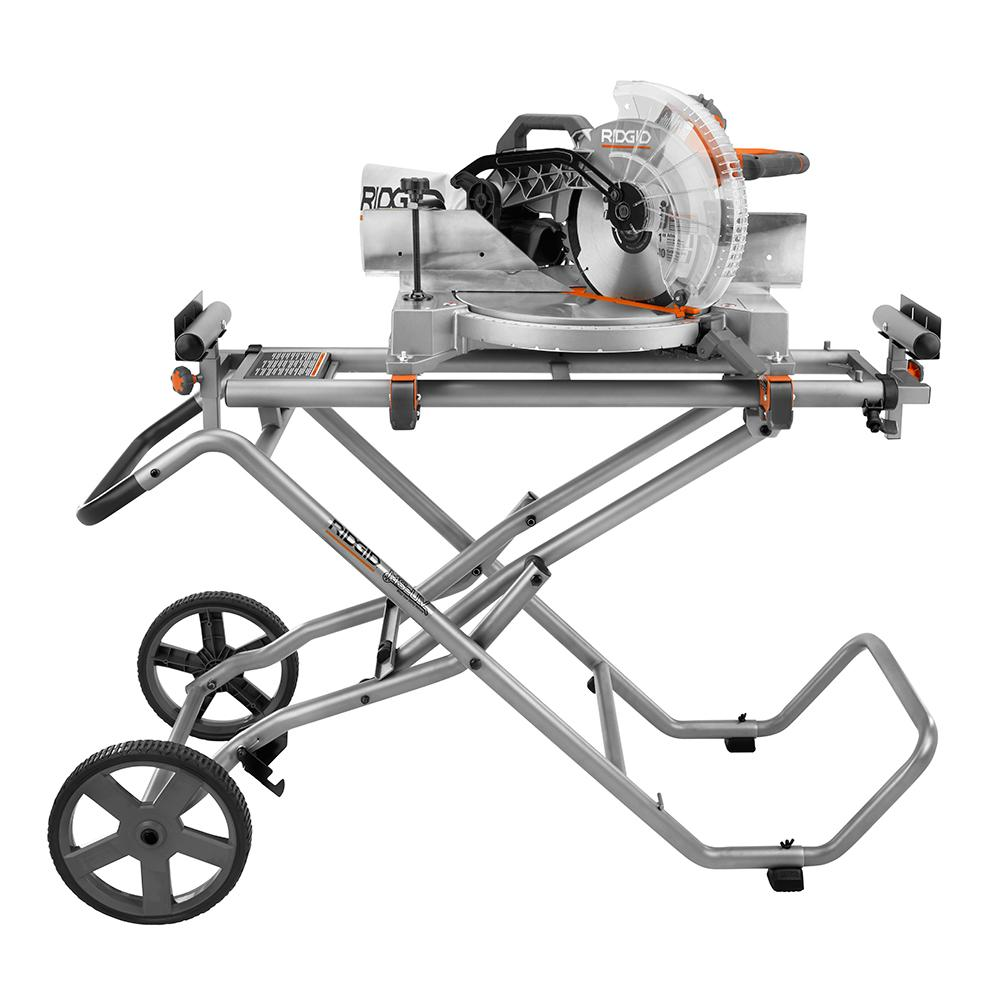 RIDGID Mobile Miter Saw Stand with Mounting Braces