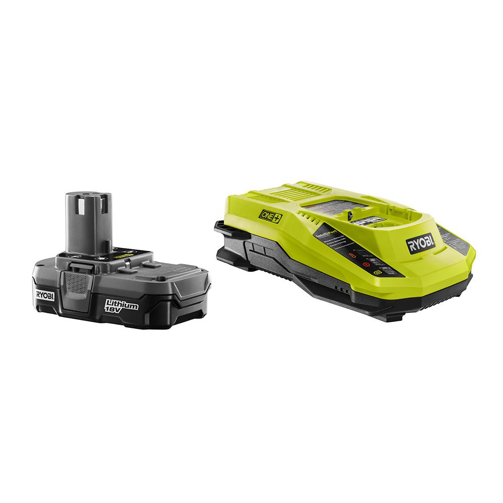 RYOBI ONE+ 18 Volt Lithium-Ion Battery and Charger Kit