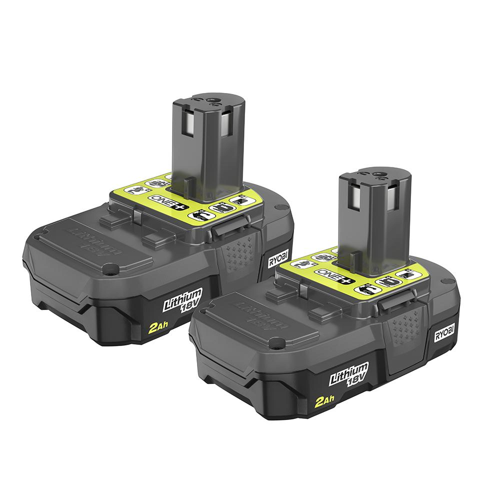 RYOBI ONE+ 18 Volt Lithium-Ion 2.0 Ah Compact Battery 2-Pack