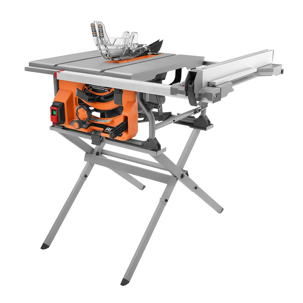 - RIDGID 15 Amp 10 In. Table Saw With Folding Stand Power Tools