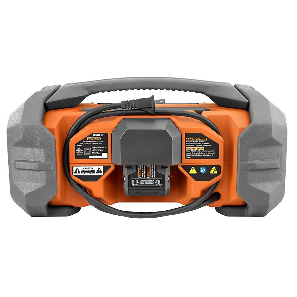 RIDGID Gen5X 18 Volt Jobsite Radio with Bluetooth Technology