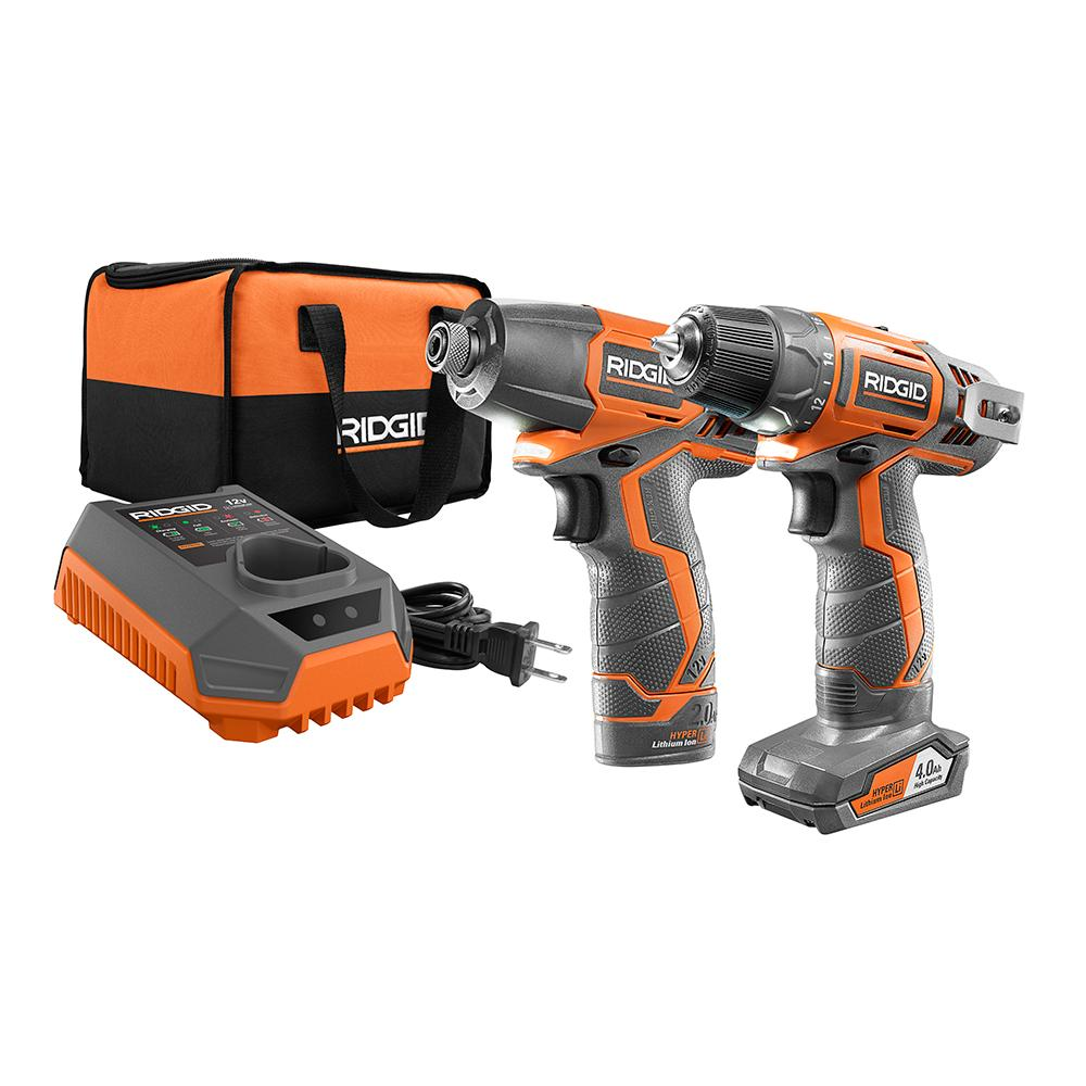 RIDGID 12 Volt Lithium-Ion Drill and Impact Driver Kit