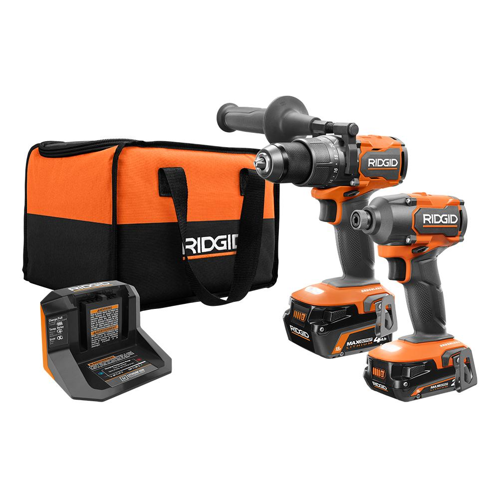 RIDGID 18 Volt Brushless 1/2 In. Hammer Drill and Impact Kit