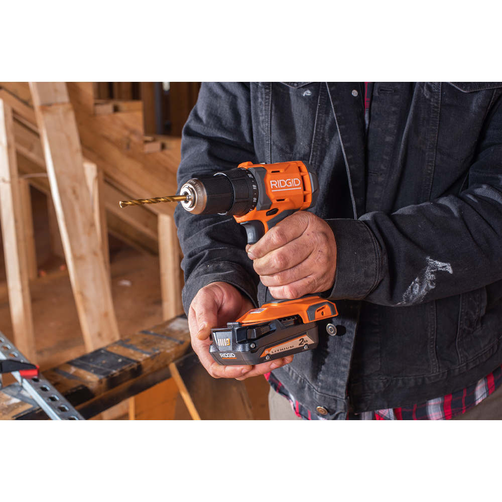 RIDGID 18 Volt 1/2 In. Drill/Driver and Impact Driver 2 Tool Combo Kit
