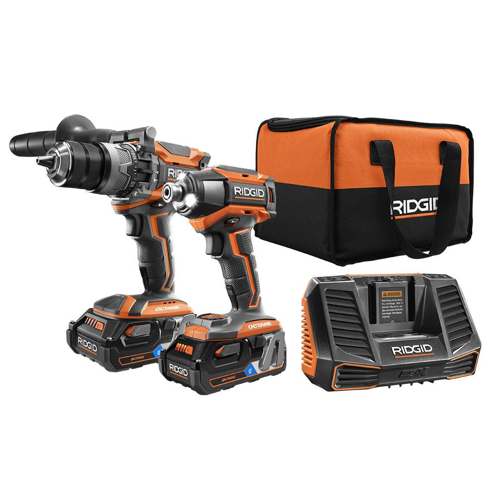 RIDGID OCTANE 18 Volt Brushless Hammer Drill and Impact Driver Kit