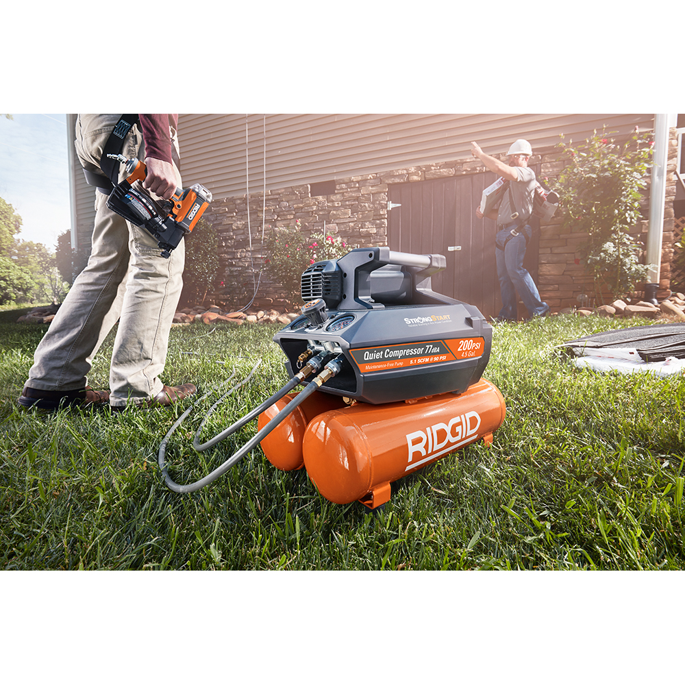 RIDGID 200 PSI 4.5 Gallon Electric Quiet Compressor