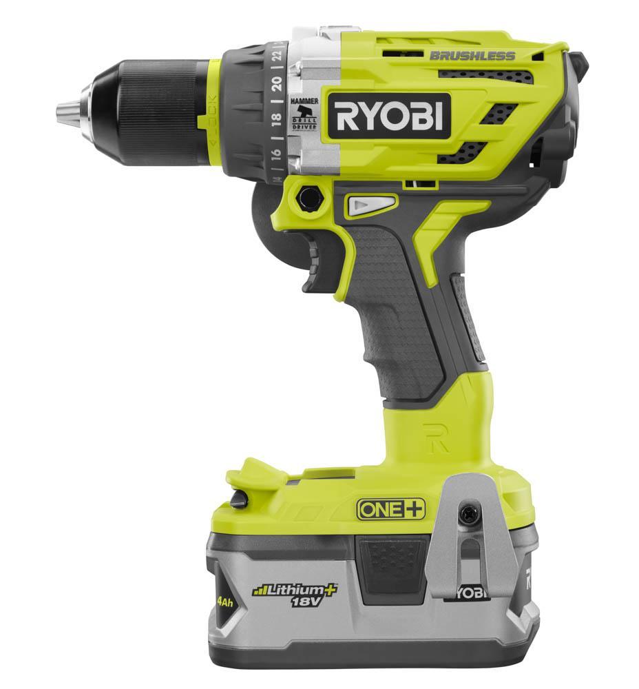 RYOBI ONE+ 18 Volt Lithium-Ion Battery Brushless Motor Hammer Drill Kit