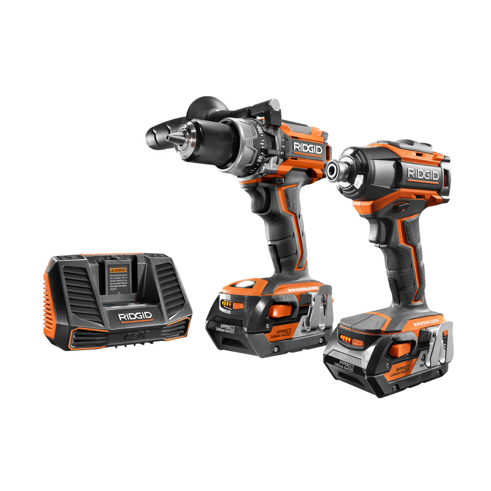 RIDGID GEN5X 18 Volt Lithium-Ion Brushless Motor Compact Hammer Drill & Impact Drill Combo Kit