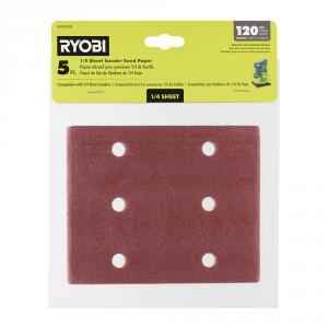 RYOBI 1/4 Sheet Sand Paper 5 Piece Set - 120 Grit