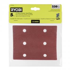 RYOBI 1/4 Sheet Sand Paper 5 Piece Set - 220 Grit