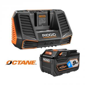 RIDGID 18 Volt OCTANE 9.0 Ah Lithium-Ion Battery and Charger Kit