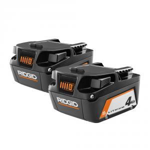 RIDGID 18 Volt Lithium-Ion 4.0 Ah Battery (2-Pack)