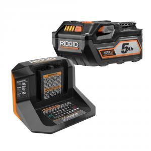 RIDGID 18 Volt 5Ah High Capacity Battery Starter Kit