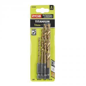 RYOBI Hex Shank Titanium Drill Bit 4 Piece Set