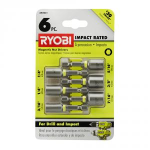 RYOBI Impact Rated Magnetic Nut Driver 6 Piece Set