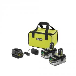 RYOBI ONE+ 18 Volt Lithium-Ion HP Battery (2-Pack) and Charger Kit
