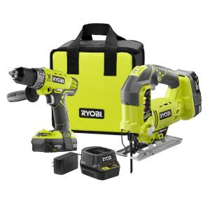 RYOBI ONE+ 18 Volt Lithium-Ion Hammer Drill and Orbital Jig Saw Kit