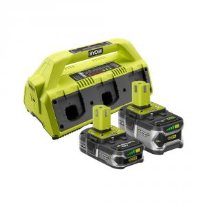 RYOBI 18 Volt ONE+ 6-Port Dual Chemistry SUPERCHARGER Kit (1) 4.0 Ah LITHIUM+ and (1) 1.5 Ah Compact LITHIUM+ Batteries
