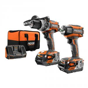 """RIDGID Gen5X 18 Volt Lithium-Ion Brushless Compact <em class=""""search-results-highlight"""">Hammer</em> Drill and 3-Speed Impact Driver Kit"""