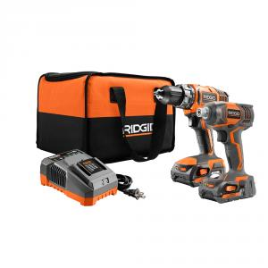 RIDGID 18 Volt Lithium-Ion Cordless Drill/Driver and Impact Driver 2 Tool Combo Kit