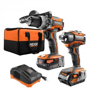 RIDGID Brushless 18 Volt Compact Hammer Drill/Driver and 3-Speed Impact Driver Combo Kit