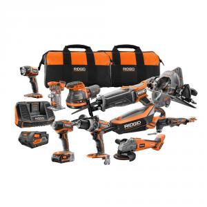"RIDGID 18 Volt Lithium-Ion 10 Piece Combo <em class=""search-results-highlight"">Kit</em>"