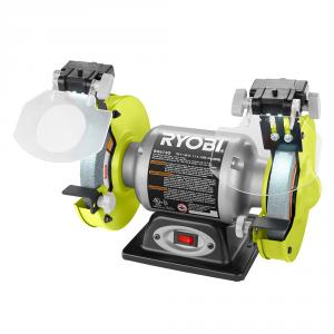 RYOBI 2.1 Amp 6  In. Corded Electric Bench Grinder with LED Lights