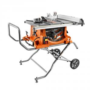 RIDGID 15 Amp Corded 10  In. Heavy Duty Portable Table Saw with Stand