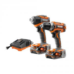 RIDGID 18 Volt Lithium-Ion Brushless Drill/Driver and Impact Driver Kit